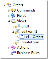 Category 'c1 - Orders' in editForm1 view of Orders data controller.