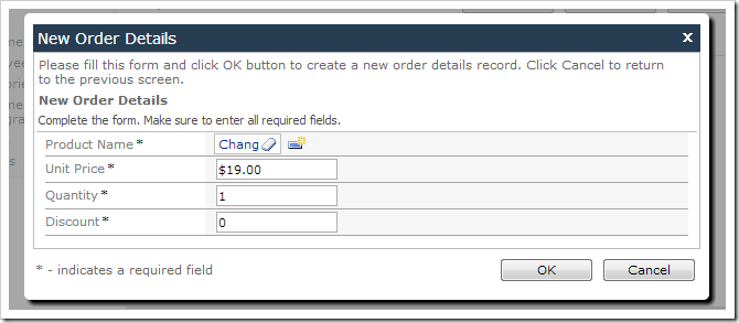 New Order Details form with default values for Quantity and Discount.