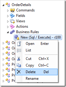 Delete context menu option for the SQL business rule in Order Details controller.