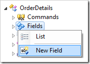 Create New Field option for 'OrderDetails' controller in Code On Time Designer