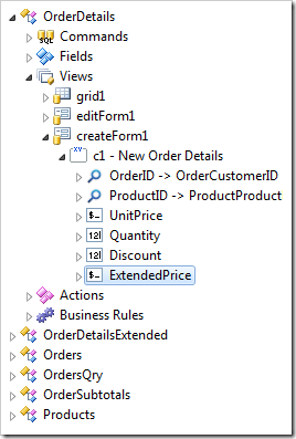 ExtendedPrice field binding created in view 'createForm1'.