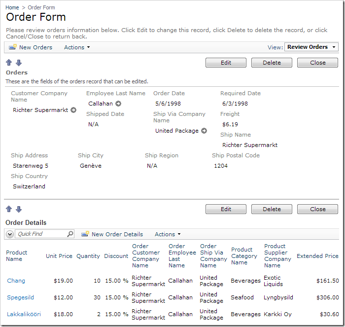 Order Form details for a selected order. The order details grid view below contains redundant fields.