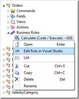 Edit Rule in Visual Studio context menu option for a Calculate code business rule.