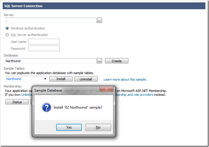 Installing the Northwind sample into the specified database.