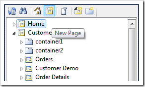 New Page context menu option on the toolbar of the Project Explorer.