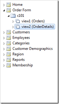 Orders and OrderDetails instantiated as data views on the Order Form.
