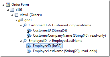 EmployeeID field reference node under the EmployeeID data field of grid1 view.