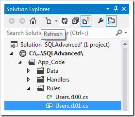 Refresh button on the Solution Explorer may need to be pressed in order for the rule to appear.
