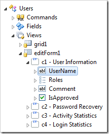 UserName data field node of 'editForm1' of Users controller.