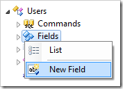 'New Field' context menu option for Users controller.
