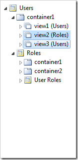 The copied controllers have been instantiated as views in the container.