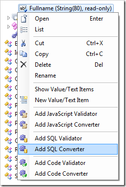 Add SQL Converter context menu option in the Project Explorer.