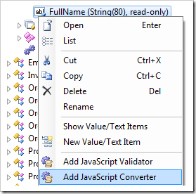 'Add JavaScript Converter' context menu option for FullName field node.