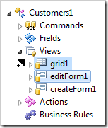 Dropping editForm1 view node on the left side of grid1 view node.