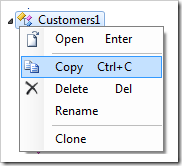 Copying Customers1 controller using the context menu option.