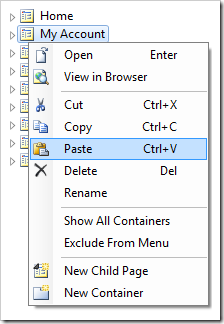 Paste context menu option for My Account page node.