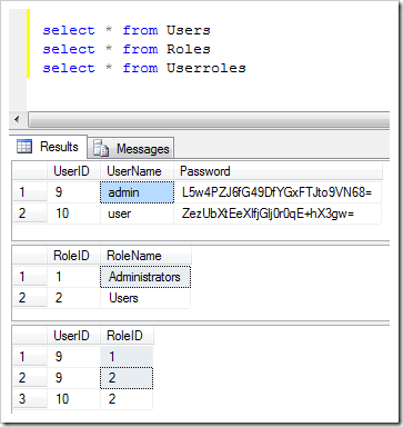 Tables in the foundation of the security system of a web app with custom membership and role providers created with Code On Time application generator
