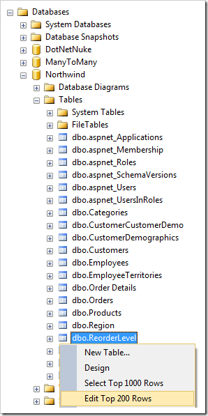 Context menu option 'Edit Top 200 Rows' for ReorderLevel table in the Northwind database.
