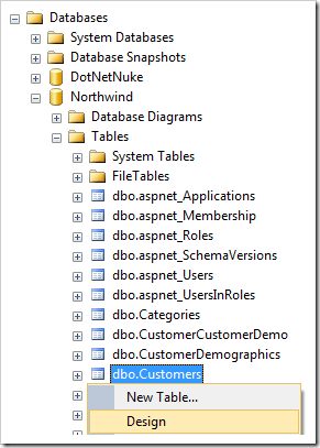 Design context menu option for Customers table in Northwind database in SQL Server Management Studio.
