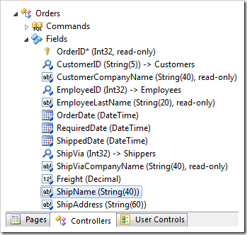 ShipName field in the Orders controller in Code On Time web application designer.