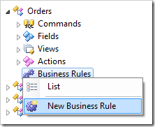 New Business Rule context menu option in the Orders controller.