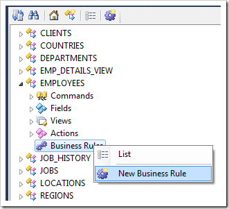 Creating a new SQL business rule in Code On Time application generator