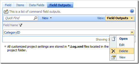 Delete context menu option for a field output in the Project Browser.