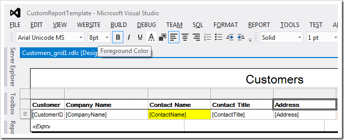 Changing the foreground color of 'Address' column header.
