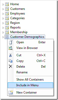 Using the 'Include in Menu' context menu option for 'Customer Demographics' page.