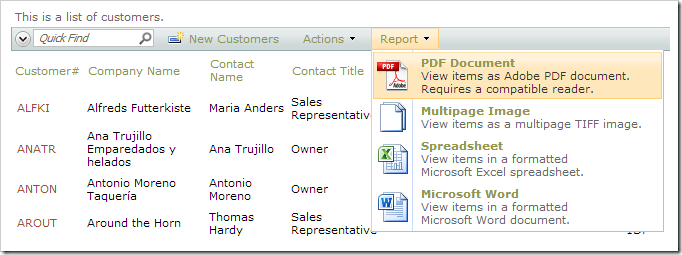 Creating a PDF report from the list of customers.