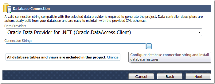 'Oracle Data Provider for .NET' data provider selected. The '...' button next to Connection String field will activate the 'Oracle Connection' screen.