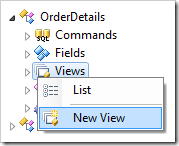 Creating a new view for OrderDetails controller.