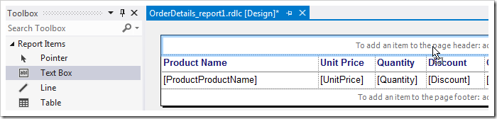 Dropping a text box element onto the report header area.