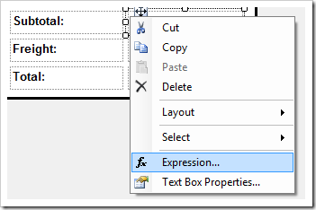 'Expression' context menu option for a text box.