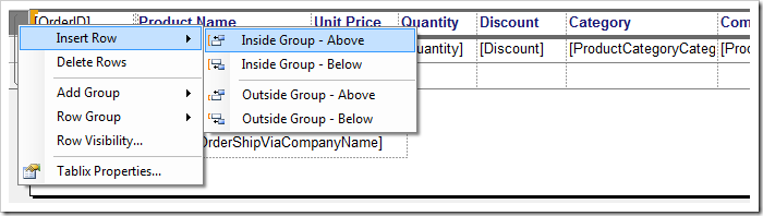 Inserting a row inside the group.