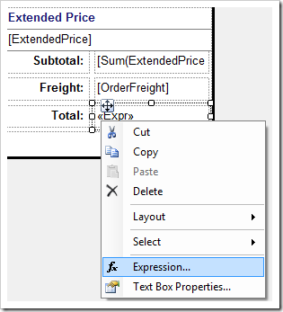 Activating the Expression context menu option for 'Total' field.