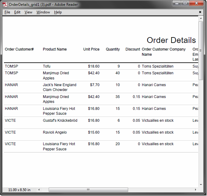 Order details from multiple orders are included in the report.