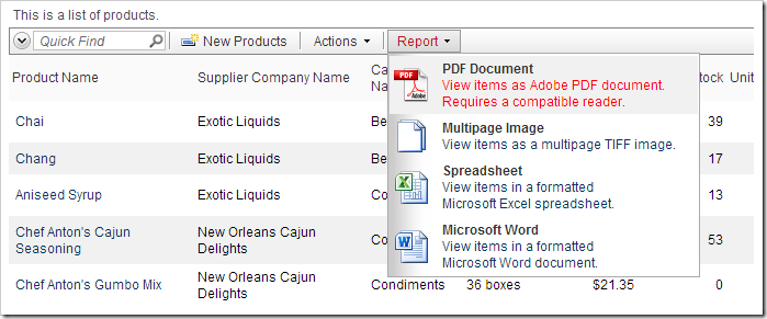 Default Report PDF action on the action bar.
