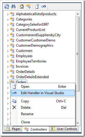 Using the context menu action to edit the handler in Visual Studio.