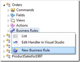 Creating a new business rule for Orders controller.