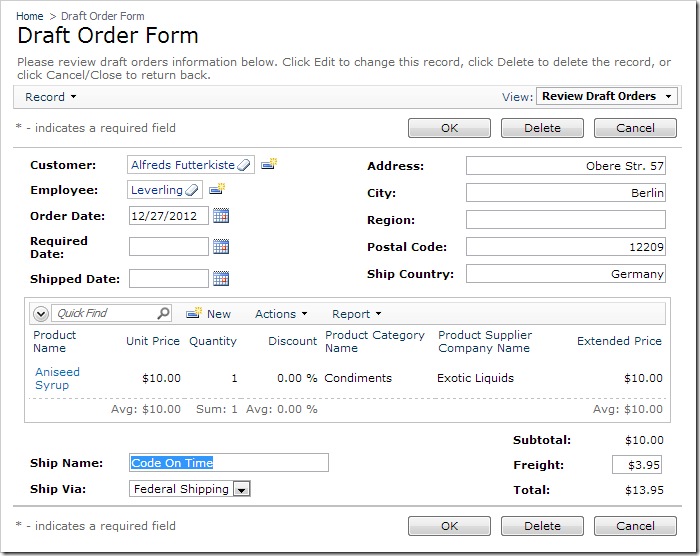 Order Form created from the draft tables.