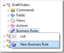Creating a new business rule.