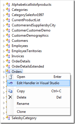 Using the context menu option 'Edit Handler in Visual Studio'.