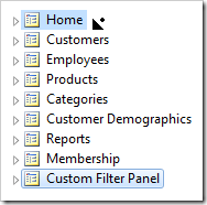 Dropping 'Custom Filter Panel' page on the right side of 'Home' page.