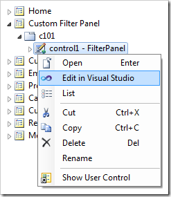 Editing the custom user control file in Visual Studio.