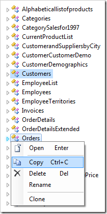 Copying the 'Orders' and 'Customers' controllers.
