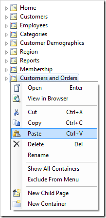 Pasting the copied controllers onto 'Customers and Orders' page node.