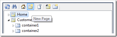 Creating a new page in the Project Explorer.