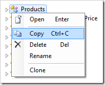 Using the 'Copy' context menu option for Products controller.