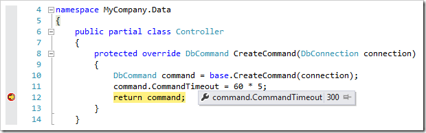 The value of 'CommandTimeout' property has been changed.